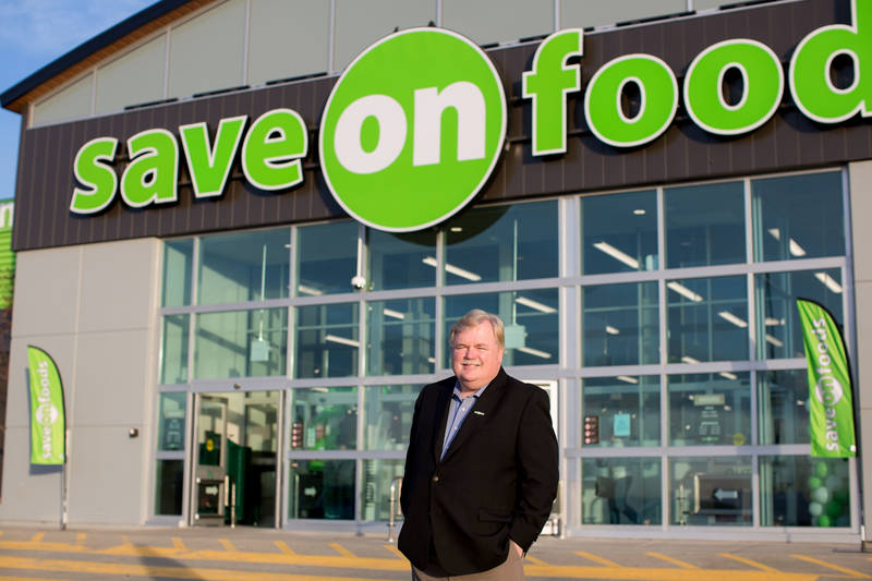 Save-On-Foods president Darrell Jones greeted customers on opening day.