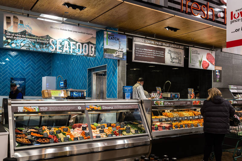 The new store also has a fresh seafood section
