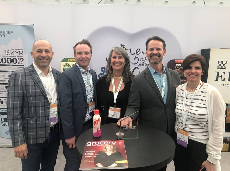 The General Mills Team, left to right: Phil Angemi, vice president, sales GMCC; Mike Stewart, national DSD yogurt manager, GMCC; Lilian Paiement, GMCC retail sales representative - Vancouver area; Tobias Bourdeau, GMCC associate retail sales manager - Western Canada; Kari Popkey, DSD yogurt associate retail sales manager - Western Canada