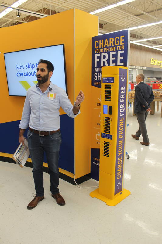 Alykhan Kanji, VP of format strategy, explains the store's free mobile charging centre.