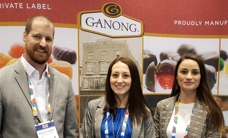 At the Ganong booth with Nicholas Ganong, Krysten McShane and Sarah Caldwell