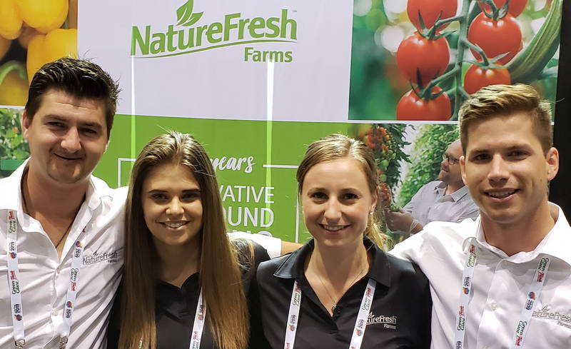 At NatureFresh Farms with Matt Quiring, left, Kara Badder, Sarah Krzysik and Conor Chilvers