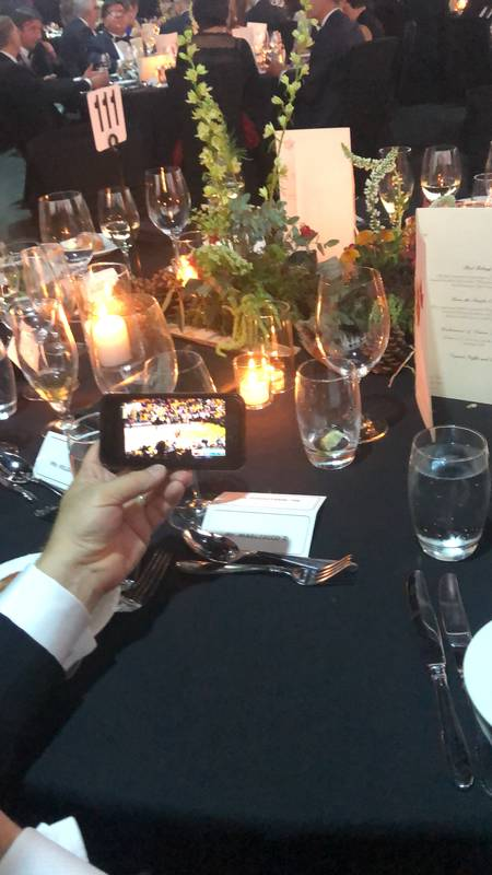 During the Black Tie dinner, Danone's Dan Magliocco's cell phone helped the people at his table watch the last few minutes of the historic win by the Toronto Raptors