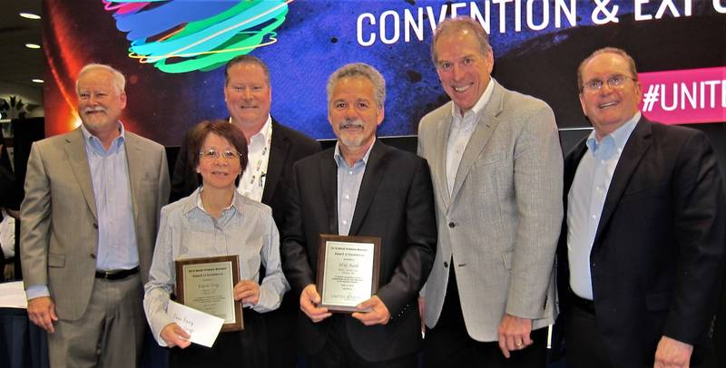 Produce Manager award winners 2019 included Canadians Elaine Fong of Calgary Co op and Mkire Burdi of Metro Inc. in forefront. In back from left: Tom Stenzel, United Fresh; Jeff Kady, Tops Markets; Tim Stejskal and Michael Soloman, Dole Fresh Vegetables