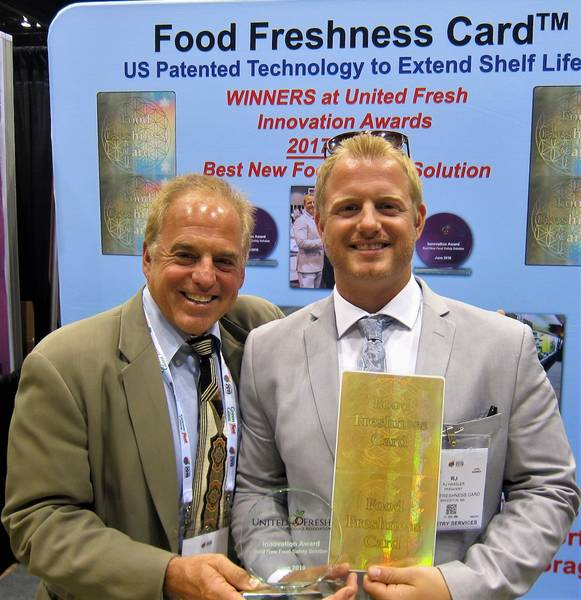 Rick and RJ Hassler with the United Fresh Innovation Award for Best new Food Safety Solution The Food Freshness Card