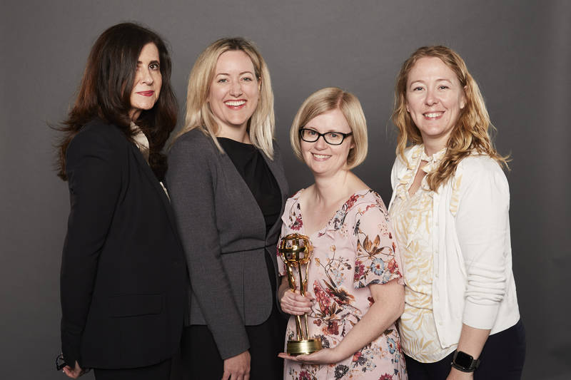 Sobeys Inc. won twice under Private Label: Food: Condiments & Sauces for Sensations by Compliments Spirited Mickie BBQ Sauce and Snack (Savoury) for Sensations by Compliments Extra Crunchy Kettle-Cooked Potato Chips. From left::Alison Tulett, Sarah Stover, Sarah Lowry and Jennifer Priaro