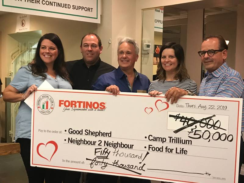 Cheque presentation. L to R: Carrie Arnold, Camp Trillium special events manager; Graham Hill, executive director, Food for Life; Michael Longval, director, personal giving, Good Shepherd; Robyn Knickle, director of development, Neighbour to Neighbour; Vince Scornaienchi, EVP, Fortinos