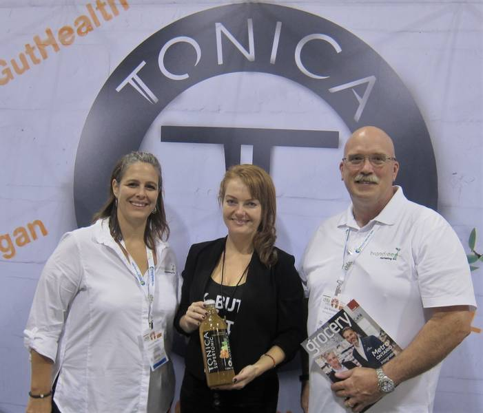Zoey Shamai of Tonica is bookended by Leanne Sedor and Jim Kavanagh, Brandseed Marketing