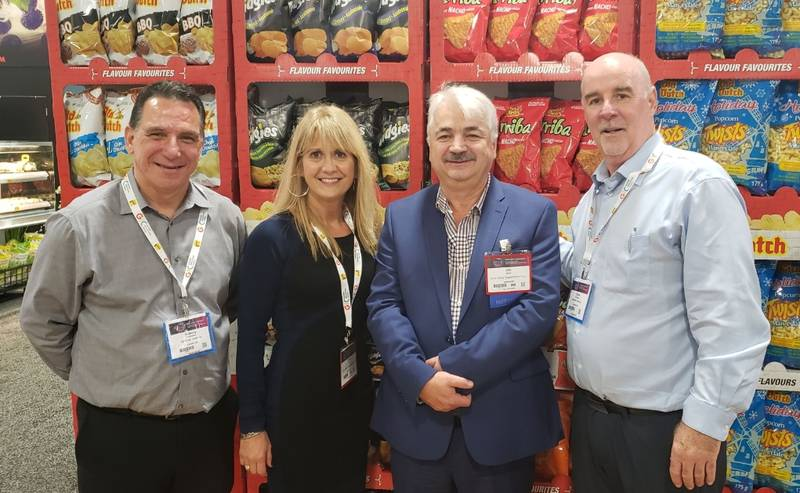 L to R: Anthony Protomanni, Old Dutch Foods; Vicki and Jim Bexis, Sun Valley Supermarket; Steve Schneider, Old Dutch Foods