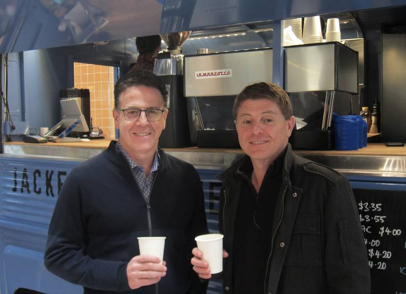 Anthony and Joey Longo at the Jacked Up coffee truck inside the store