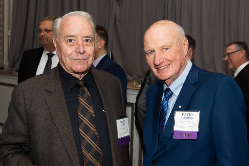 Former Golden Pencil Award winners David Clark (left) and David Ganong