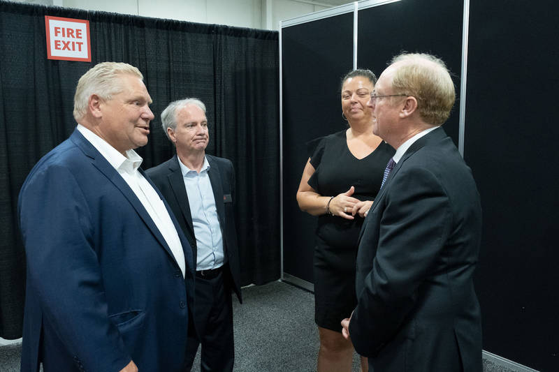 CFIG welcomes Ontario Premier Doug Ford to Grocery Innovations Canada 2019.   CFIG CEO Tom Shurrie, past Chair Christy McMullen and CFIG Sr. VP  Gary Sands greet the Premier as he begins his 90 minute tour of the Trade Show Floor.