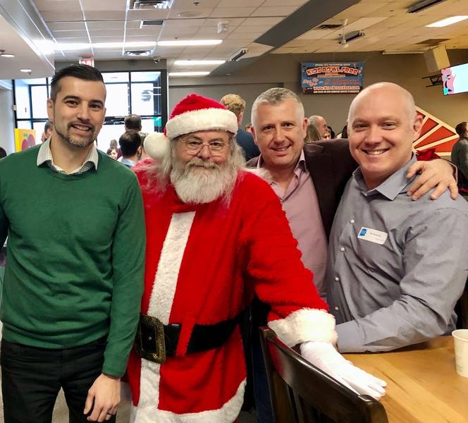 Bill Johnson, Maple Leaf Foods; Santa Claus; Ernie DeCarlo, Concord National; Ian Roberts, ConAgra