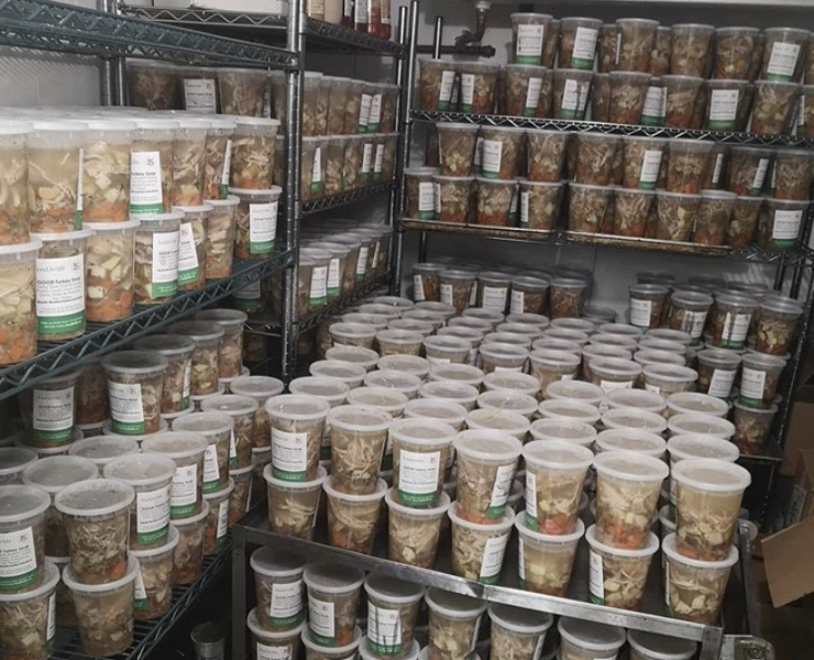 Good Soup Project's meals ready to be delivered to people in need. Image: Food for Life