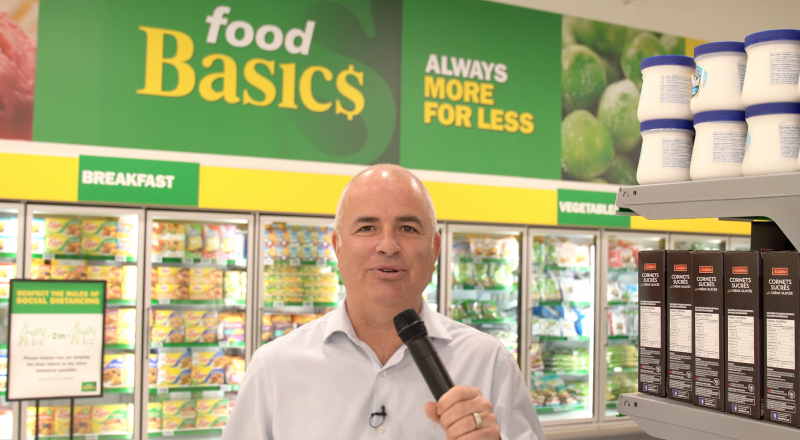 John Manax, vice president of operations, Food Basics, at the new Bolton, Ont. store.