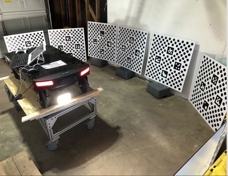 An Amazon engineer turned his garage into a workstation to fine tune the robots' cameras. Image: Amazon