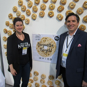 Ace Bakery's Sophia Rouleau and Ed Metzger with the new Ace Bakery Baguette Bagels