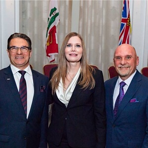 Golden Pencil Award winners Christian Bourbonnière, Metro (left); Cheryl Smith, Dairy Farmers of Ontario; Tom Barlow, retired from Canadian Federation of Independent Grocers (CFIG)